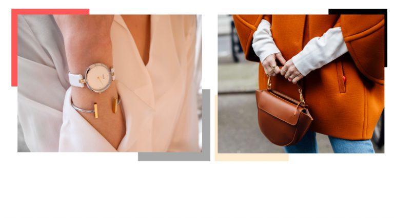 Braccio di donna con orologio e donna che mantiene una borsa
