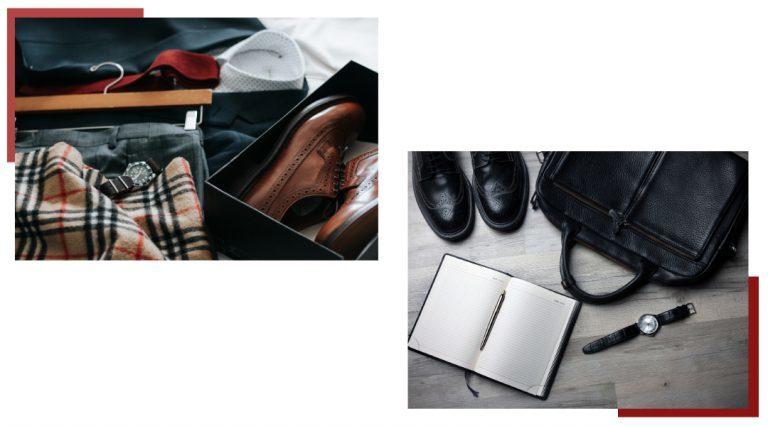 Sciarpa, orologio e scarpe e agenda e borsa nera