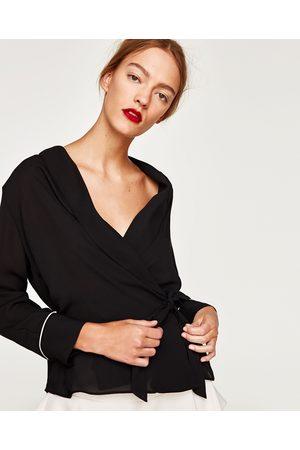 Zara CAMICETTA INCROCIATA COLLO SMOKING - Disponibile in altri colori