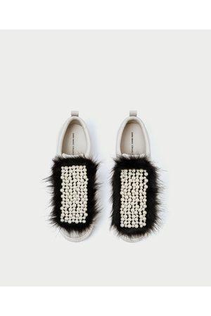 Finto Perle Linguetta Pelo Con Sneakers 6y7bfg