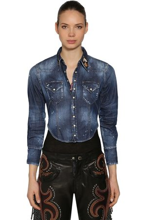 Dsquared2 Camicia Cropped Stretch In Denim