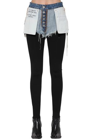UNRAVEL Leggings In Misto Di Viscosa Con Shorts In Denim