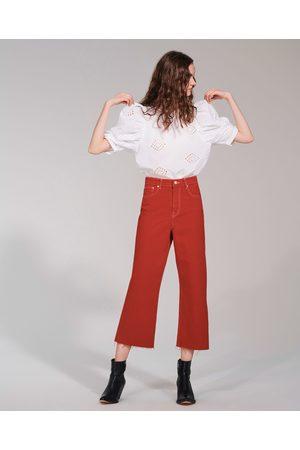 Zara JEANS HIGH WAIST CULOTTE VERMONT RED