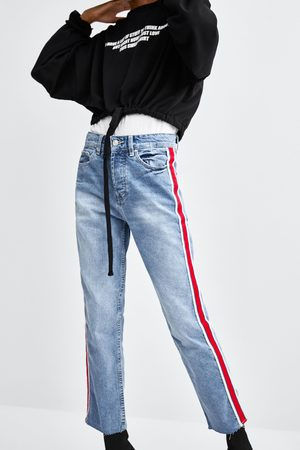 Zara JEANS HI-RISE STRAIGHT LEG STRISCIA LATERALE