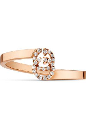 Gucci Anello in oro rosa con dettaglio GG e diamanti