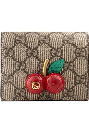 Gucci Donna Portafogli e portamonete - Porta carte in tessuto GG Supreme con dettaglio ciliegie