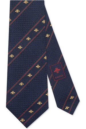 Gucci Cravatta in seta con dettaglio Web e ape