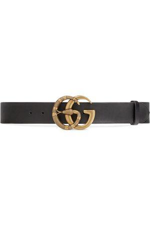 Gucci Cintura in pelle e fibbia Doppia G con serpente