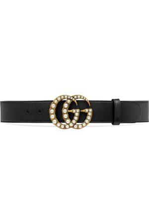 Gucci Cintura in pelle e Doppia G con perle
