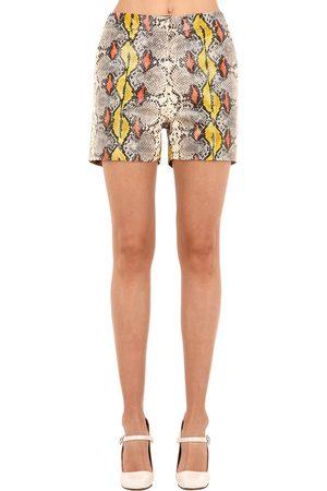 Rochas Shorts In Pelle Stampa Serpente