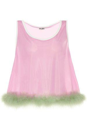Miu Miu Top in jersey con piume