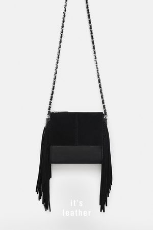 Zara Donna A tracolla - LEATHER CROSSBODY BAG WITH FRINGING