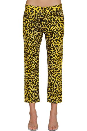"R13 Pantaloni ""joey"" In Cotone Leopard"