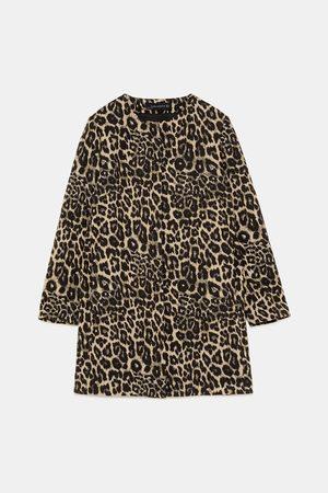 Zara LEOPARD PRINT JACQUARD COAT