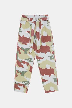 Zara CAMOUFLAGE PAPERBAG TROUSERS