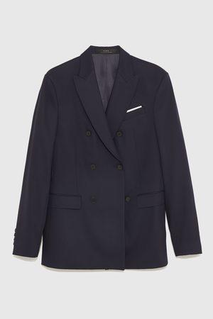 Zara Uomo Blazer - Blazer da completo a doppiopetto cinzato comfort