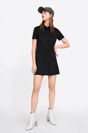 Zara Vestito effetto scamosciato con bottoni
