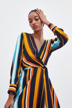 Zara Vestito incrociato a righe