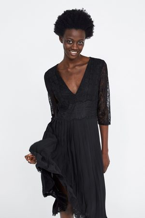 Zara Pleated dress with contrast lace trims