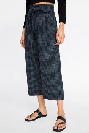 Zara Pantaloni culotte cintura a quadri
