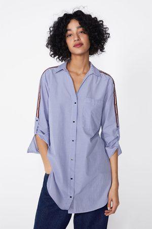 Zara Camicia a righe con striscia a contrasto