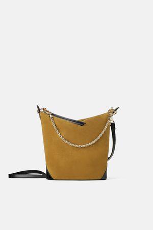 Zara Borsa a secchiello con catena in pelle scamosciata