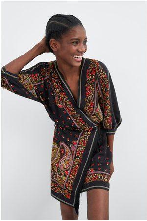 Zara Vestito stampato con frange