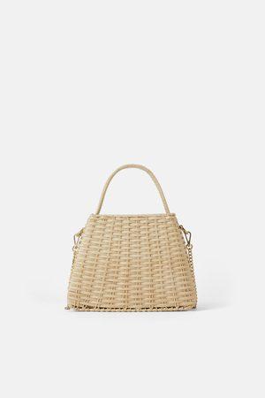 Zara City bag in rafia con catena