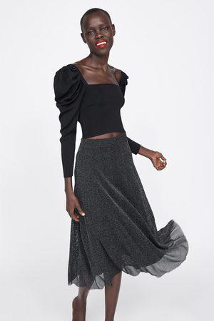 Zara Textured metallic thread skirt
