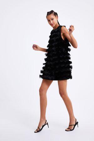Zara Vestito in maglia con frange