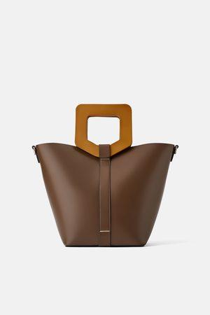 Zara Borsa shopper rigida con manico in legno
