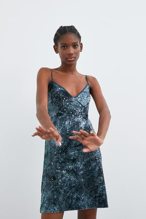 Zara Donna Vestiti - Vestito con paillettes tie dye