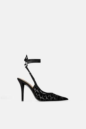 Zara Scarpe con tacco slingback con stampa animalier in velluto
