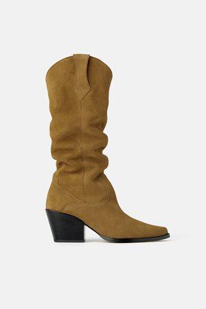 Zara Stivali con tacco cowboy in pelle scamosciata join life