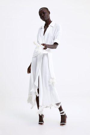Zara Vestito pareo lino frange