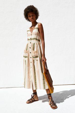 Zara Vestito rustico a righe