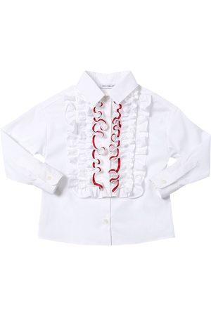 Dolce & Gabbana Camicia In Popeline Di Misto Cotone Stretch