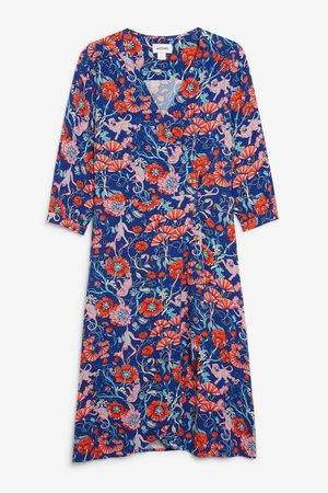 Monki Donna Vestiti estivi - Buttoned wrap dress - Blue