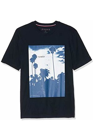 Tommy Hilfiger Palm Photo Print Relax Fit Tee, T-Shirt Uomo, Blu , Large