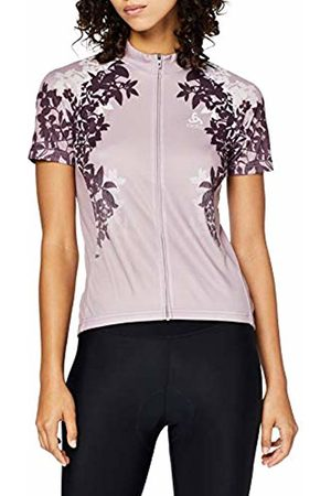 Odlo Stand-up Collar s/s Full Zip Element Print, Maglietta Donna, Quail-Placed SS19, S