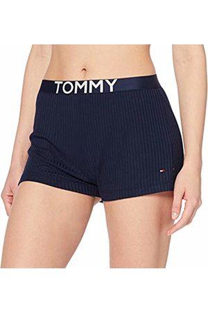 Tommy Hilfiger Rib Short, Pantaloni Pigiama Donna, Blu , X-Small