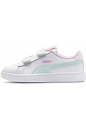 Puma Smash v2 L V PS, Scarpe da Ginnastica Basse Unisex-Bambini, Bianco White-Fair Aqua-Pale Pink, 29 EU