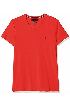 Tommy Hilfiger Stretch Slim Fit Vneck Tee, T-Shirt Uomo, Rosso , Large