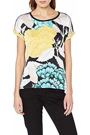 Comma, 88.904.32.3370, T-Shirt Donna, Mehrfarbig Grey/Black AOP 99a2, 50