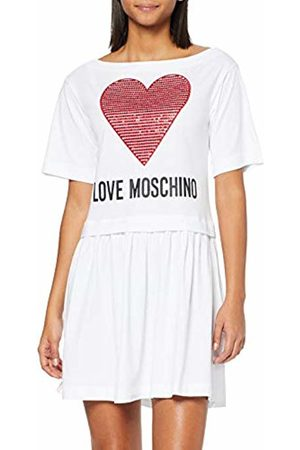 Moschino Donna Heart Print & Logo Shortsleeve Dress Vestito Not Applicable, Bianco , 42