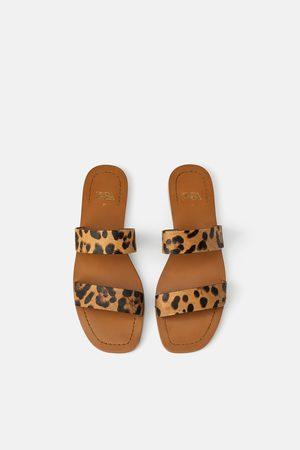 Zara Sandali bassi pelle fascette stampa animalier
