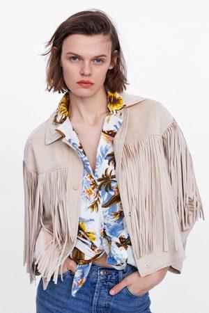 Zara Fringed faux suede jacket