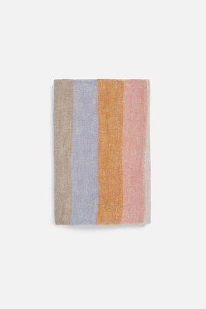 Zara Donna Sciarpe - Striped linen scarf