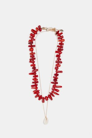 Zara Pack of 2 coral and seashell necklaces