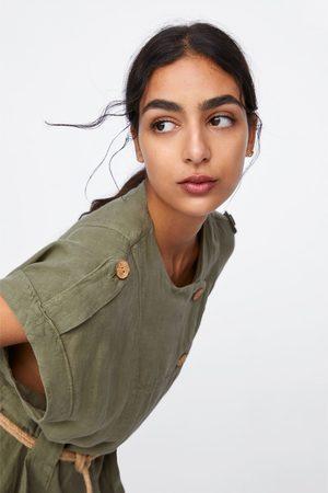 Zara Vestito in lino con cintura